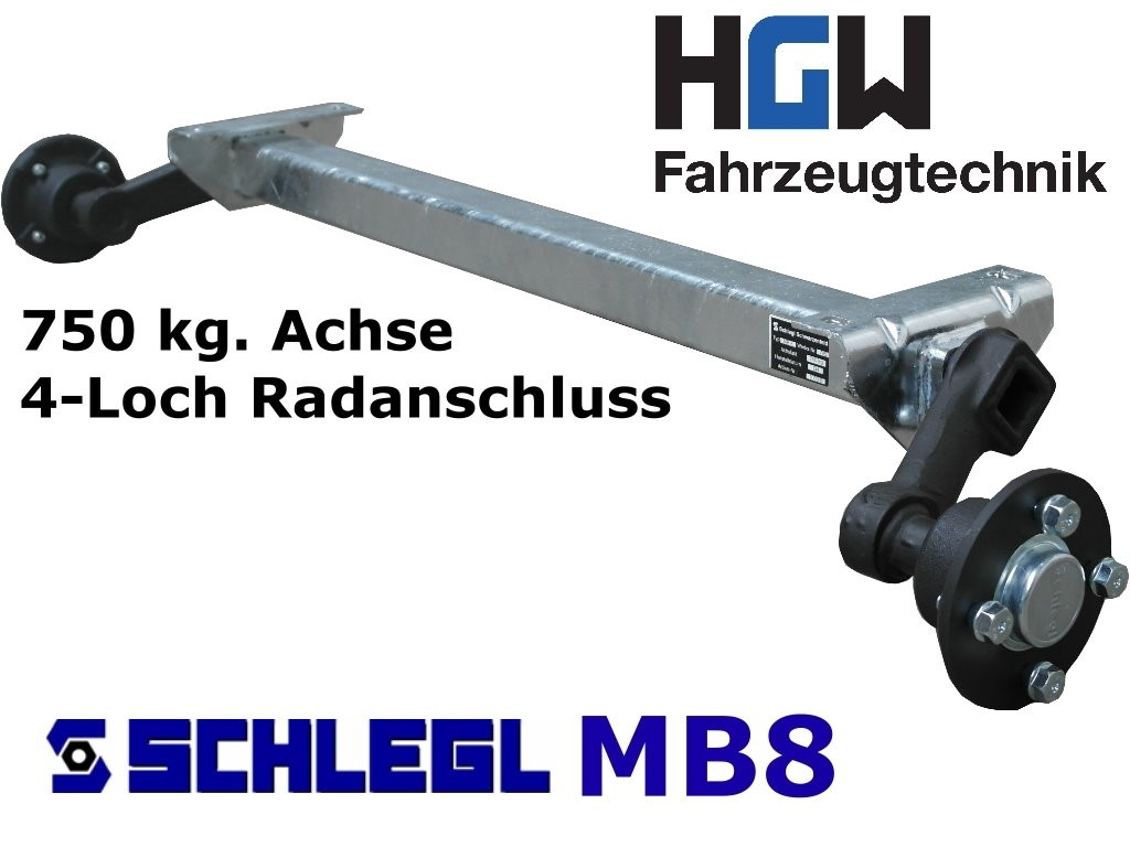 750 kg. Achse ungebremst - AM: 1140 mm - AS: 4*100