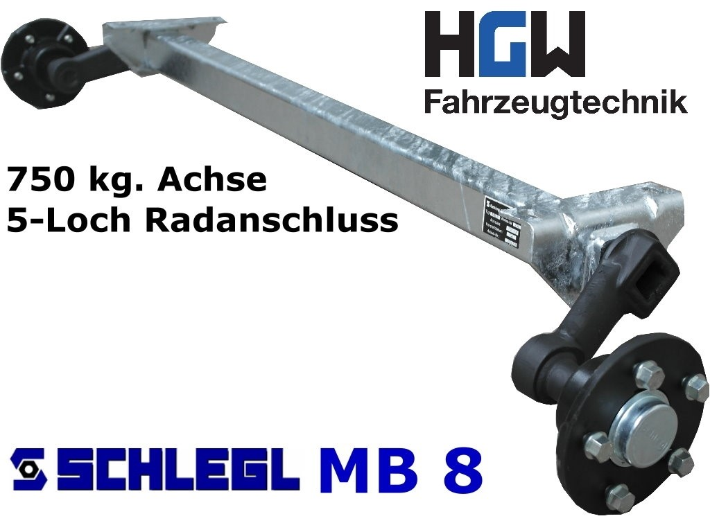 750 kg. Achse ungebremst - AM: 1300 mm - AS: 5*112