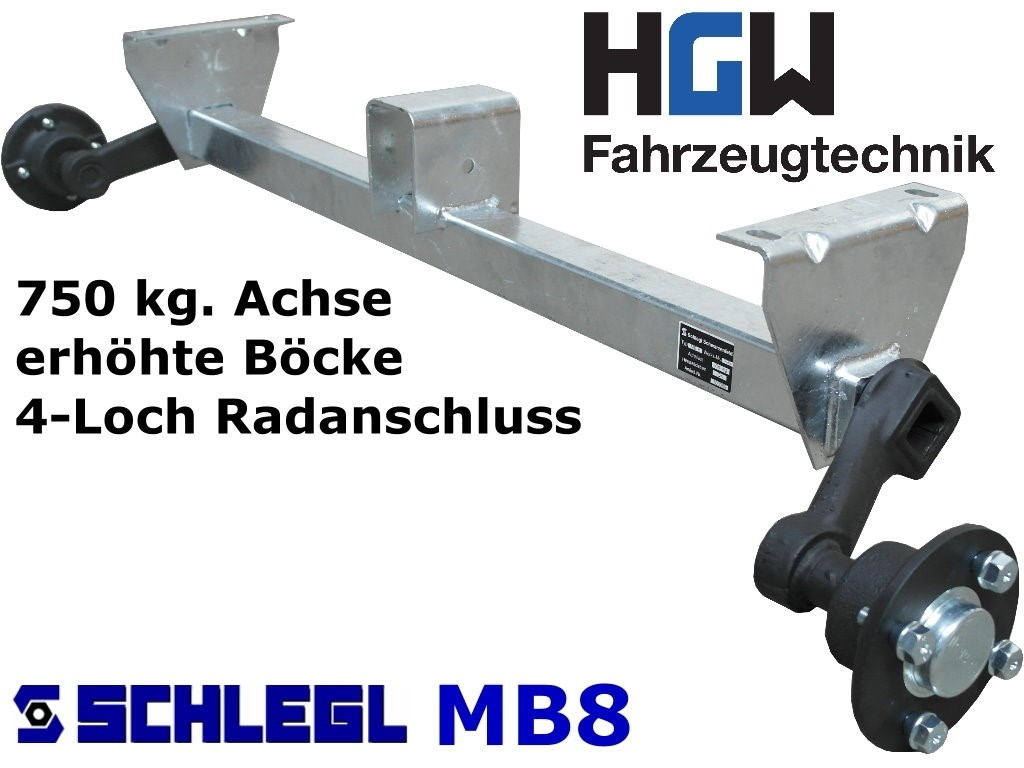 750 kg. Achse erhöhte Böcke - 1200 mm 4*100