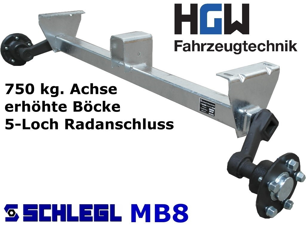 750 kg. Achse erhöhte Böcke - 1100 mm 5*112