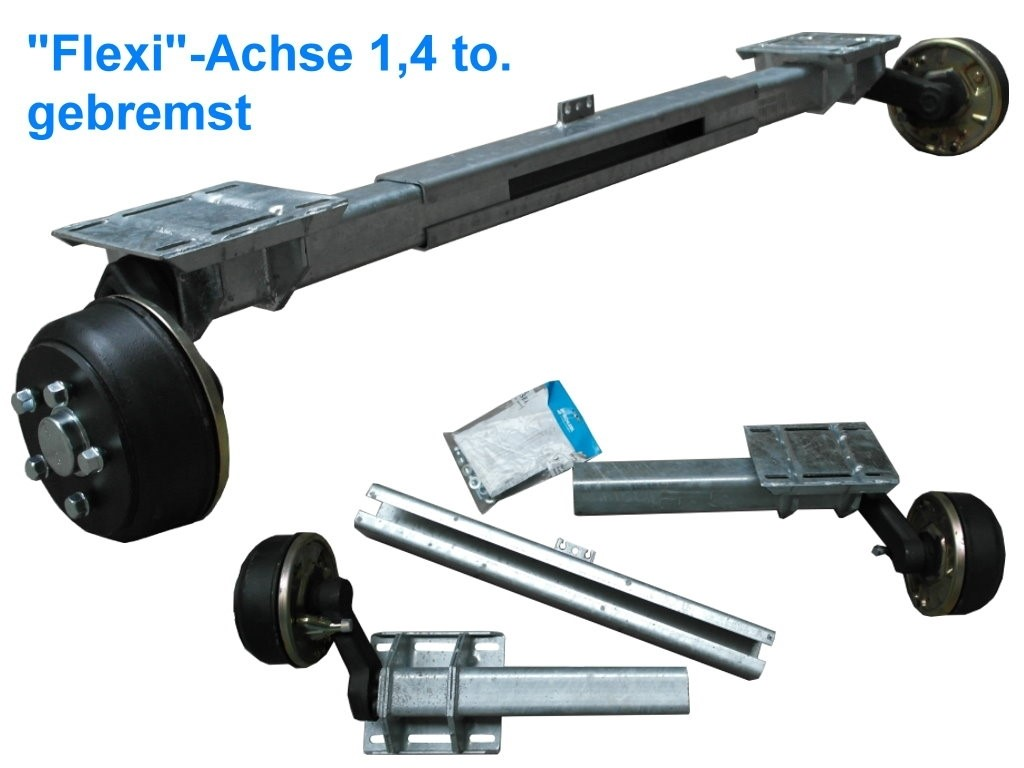 1,4 to. Flexi-Achse gebremst - AM: 700-1300 mm
