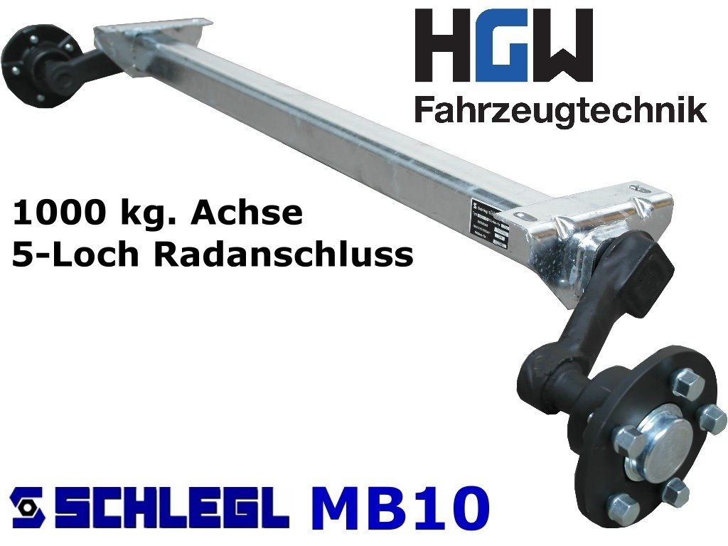 1000 kg. Achse ungebremst - AM: 1500 mm  AS: 5*112
