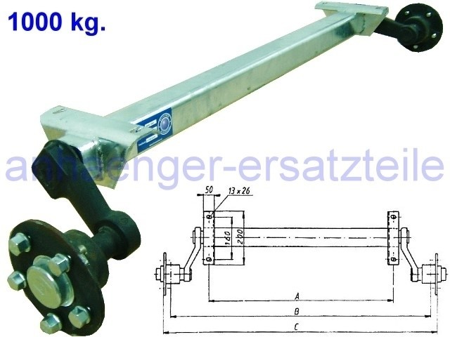 1000 kg. Achse ungebremst - AM: 1140 mm  AS: 5*112