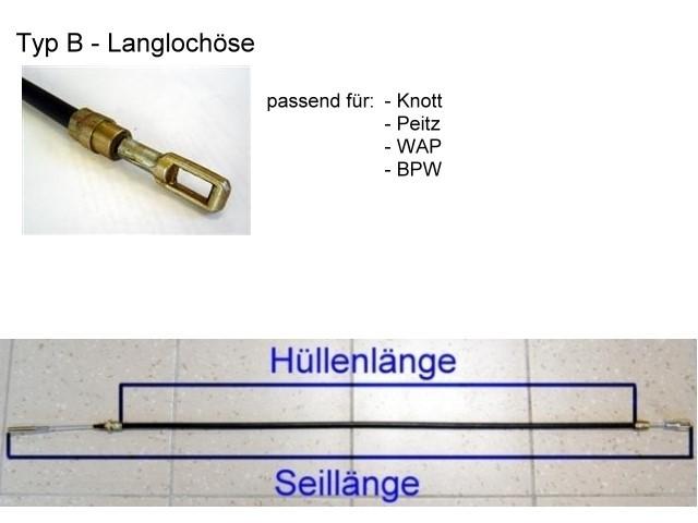 Bremsseil - Langlochöse - HL 780 mm