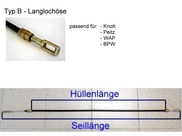 Bremsseil - Langlochöse - HL 900 mm