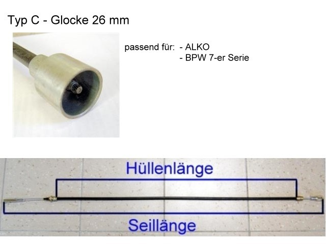 Bremsseil - Glocke 26 mm - HL 1430 mm
