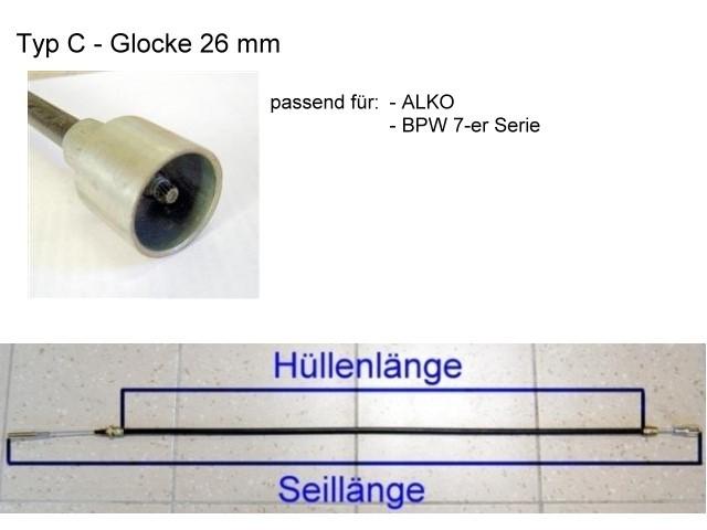 Bremsseil - Glocke 26 mm - HL 1630 mm