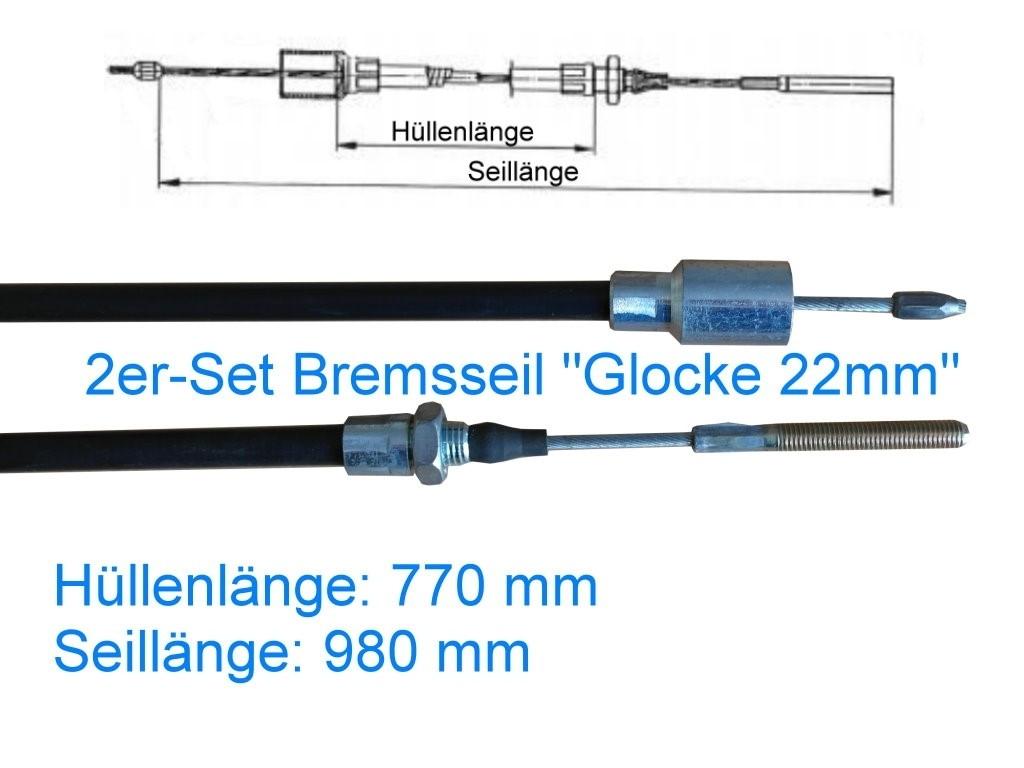 2er Set Bremsseil Typ A - Glocke 22mm - HL 770 mm