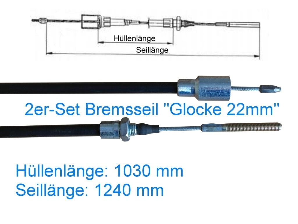 2er Set Bremsseil Typ A - Glocke 22mm - HL 1030 mm