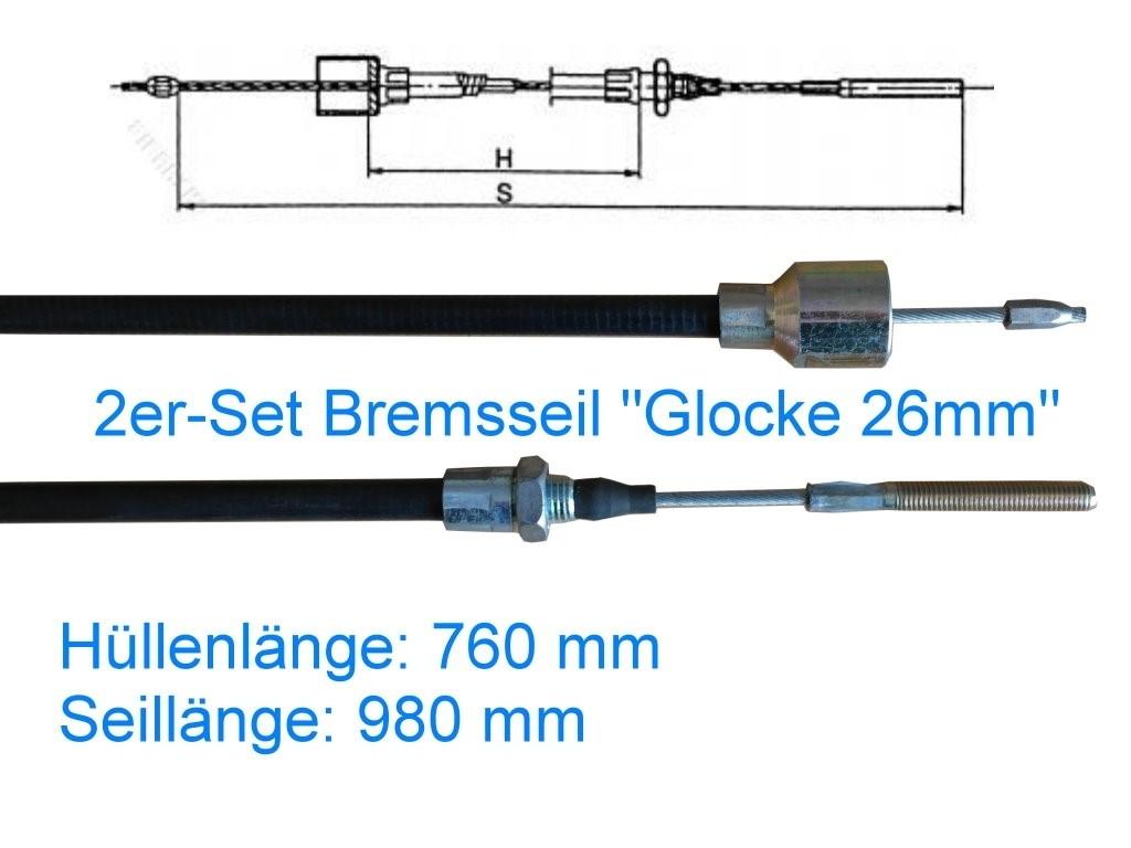 2er Set Bremsseil Typ C - Glocke 26mm - HL 760 mm