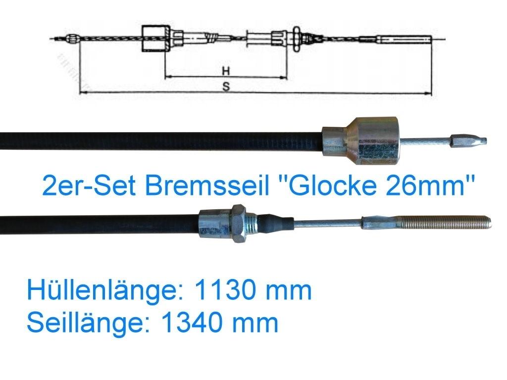 2er Set Bremsseil Typ C - Glocke 26mm - HL 1130 mm