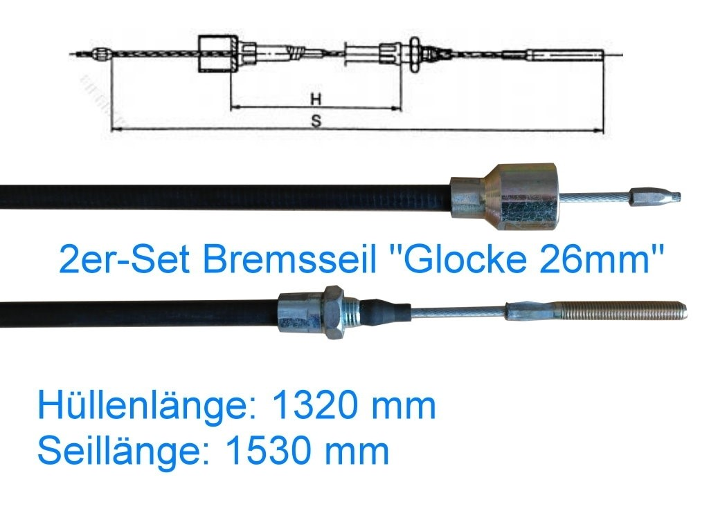 2er Set Bremsseil Typ C - Glocke 26mm - HL 1320 mm
